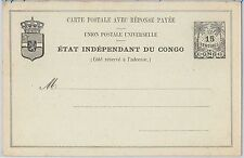 Palm trees - CONGO -  POSTAL STATIONERY CARD  - H & G # 7 Double card