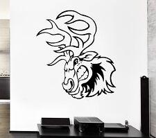 Wall Decal Angry Moose Deer Horns Animal Caricature Elk Vinyl Stickers (ed182)