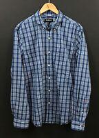 BETABRAND Men's Blue Plaid Long Sleeve Button-Down Shirt sz XL