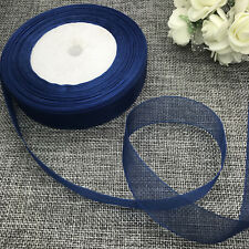 5 yards 2inch 50mm width Satin Edge Sheer Organza Ribbon Hair Bow Craft Dark blu