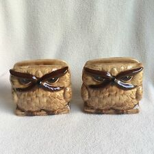 Vintage Owl Napkin Holder Set Ceramic Figurine Brown Big Eyes Grumpy Angry Birds
