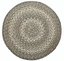 "Homespice Decor PEWTER Gray Braided Jute 15"" Round Placemat, Trivet"