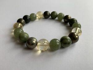 Healing Crystal Gemstone Bracelet -Abundance & Manifestation Jade Citrine Pyrite