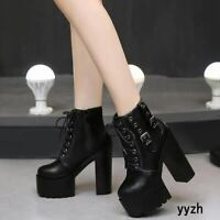 Sexy 14CM Womens Platform High Heels Ankle Boots Lace Up Party Punk Rock Shoes