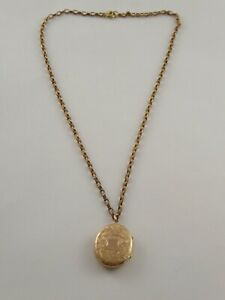 PRETTY ANTIQUE VICTORIAN 9CT GOLD BACK AND FRONT LOCKET PENDANT ON CHAIN