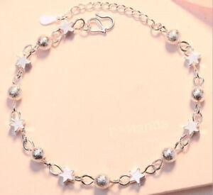 925 Sterling Silver Star Bead Linked Charm Bracelet Womens Girls Jewellery Gifts