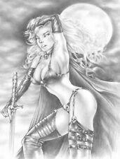 "Sexy original sweet pin-up art by Senart "" Power Lady Death"""
