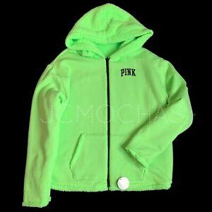 Victorias Secret PINK Reversible Sherpa Lined Full-Zip Hoodie Jacket M  L  XL