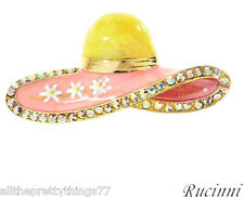 Brand New RUCINNI Hat BROOCH w/Genuine CRYSTALS___RBC90