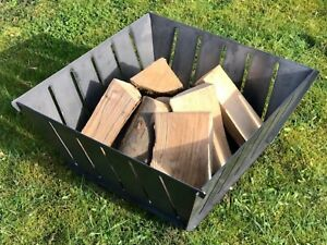 Log Basket, Fire Pit Square Flat Packed Portable Easy Assembly FREE DELIVERY