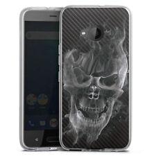 HTC U11 Life Silikon Hülle Case - Smoke Skull Carbon