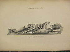 1849 PRINT ~ EFFIGY OF A KNIGHT De HERIZ ~ GONALSTON CHURCH NOTTS ~