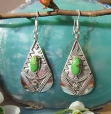 Ohrhänger Türkis Tropfen hl Stein d Indianer Kupfertürkis grün Silber 925