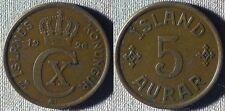 Iceland : 1926(h)  5 Aur  VF-XF   #7.1   IR5827