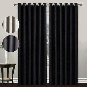 UK Pair Room Door Thermal Blackout Ready Made Eyelet Top Curtains with Tie Backs