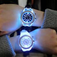 Glow in the Dark Wristwatch Couple Silicone Jelly Crystal Luminous Quartz Watch
