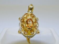 GENUINE 4.28ct Brazilian Citrine Oval Cut Turtle Ring Solid Sterling Silver 925