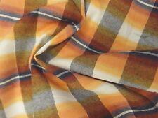 Fresh Desert Shades - Orange, Navy, Cream, and Gold Cotton Plaid Shirting
