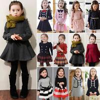Toddler Kids Baby Girl Winter Skater Dress Long Sleeve Party Skirt Size 1-9 Year