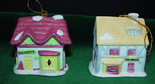 Vintage 1991 Readers Digets Village Shops Christmas Bell Ornaments