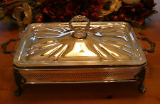 Sheridan Silverplate Footed Chafing Serving Anchor Hocking Fire King Glass Dish
