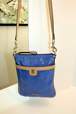 GUESS Crossbody Purse Bag Faux Leather Logo Periwinkle Blue Beige Small Travel