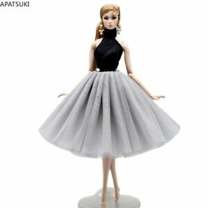 """Black Grey High Neck Ballet Dress For 11.5"""" 1/6 Doll Outfits Accessories Clothes"""