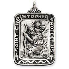 Men's  Square 925 Sterling Silver Saint St. Christopher Charm Medal Pendant NEW