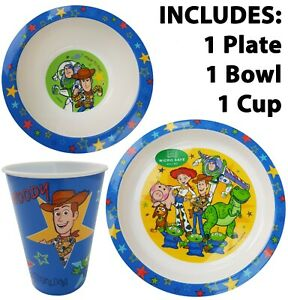 Official Disney Toy Story Plastic Plate, Bowl & Tumbler Cup Set Gaming Kids