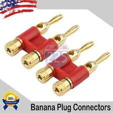 4 Pack 4mm Gold Dual Banana Plugs Screw Type Speaker Wire Cable Connector Red