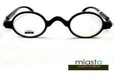 NEW Miasto Retro Mini Oval Round Rx Optical Spectacle Eyeglasses Frames~ BLACK