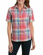 Nwt $30 Dickies Womens Short Sleeve Plaid Shirt S