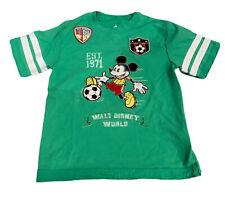Disney Parks Walt Disney World Kids T Shirt Size S Soccer Playing Mickey Green