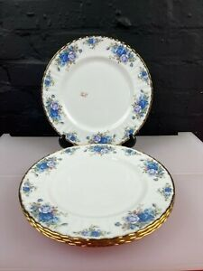 """4 x Royal Albert Moonlight Rose Dinner Plates 10.5"""" Wide 2 Sets 2nd Quality New"""