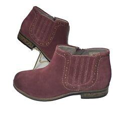 Womens Boots Booties 7.5 Wide Suede Burgundy Merlot Earth Relief Pod