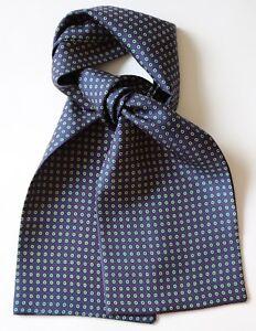 "Blue, red & cream rings Silk Cravat 40"" x 6"" Hand made"