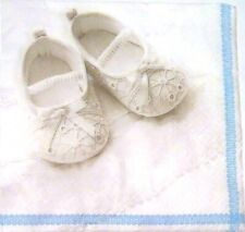 3 x Single Paper Napkins For Decoupage Craft Tissue White Blue Baby Shoes M047