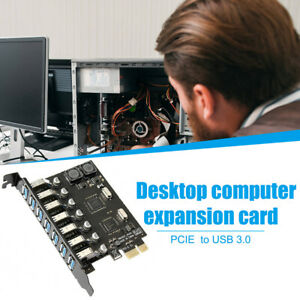 PCI Express to 7 Ports USB 3.0 Adapter Card Metal PC Expansion Riser Card