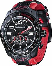 ALPINESTARS CHRONO WATCH STEEL CASE BLACK FACE LEATHER STRAP MEN GIFT IDEA