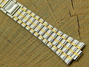 Seiko NOS Unused Vintage Watch Band Butterfly Clasp 12mm 2 Tone Stainless Steel
