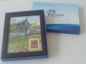 "Stamp -Vietnam Timeless Charm "" One Pillar Pagoda "" Souvenir Stamp w Photo Frame"