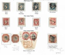 INDIA 1854 RARE SELECTION OF LITHOGRAPH STAMPS 1/2 (4) + 1a (4) + 4as (5) STAMPS