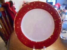 """Galaxy Dinner Plate (s) 10 1/2"""" Red 14k Gold Stars Sakura Fine Porcelain White !"""