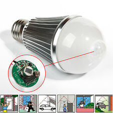 E27 9w Auto PIR Infrared Motion Sensor Detector White LED Light Bulb Globe AU