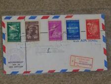 NETHERLANDS-ANTILLES, SCOTT# B15-19, REGISTERED TO SYRACUSE, N.Y., 1952