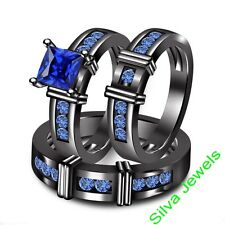 His Her Men and Woman Diamonds Wedding Ring Bands Trio Bridal Set Silver 925