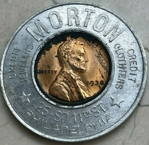 1938 Encased Wheat Cent - Morton Credit Jewelers Clothiers Save $2 on $20 Order