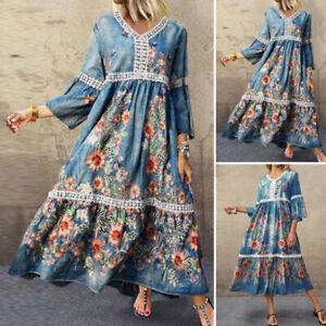 ZANZEA 8-24 Women Summer 3/4 Sleeve Maxi Long Dress Kaftan Bohemian Floral Dress