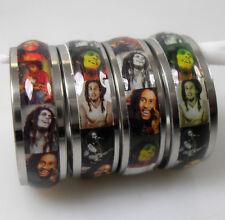 Lot de 100 Bob Marley Acier Bagues S-steel Rings Femme Homme Bijoux Fantaisie