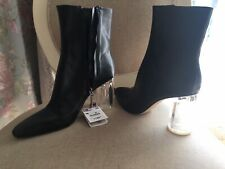 ZARA Womens Black Leather Ankle Boots Transparent Clear Heel Size 40 Uk 7 RARE